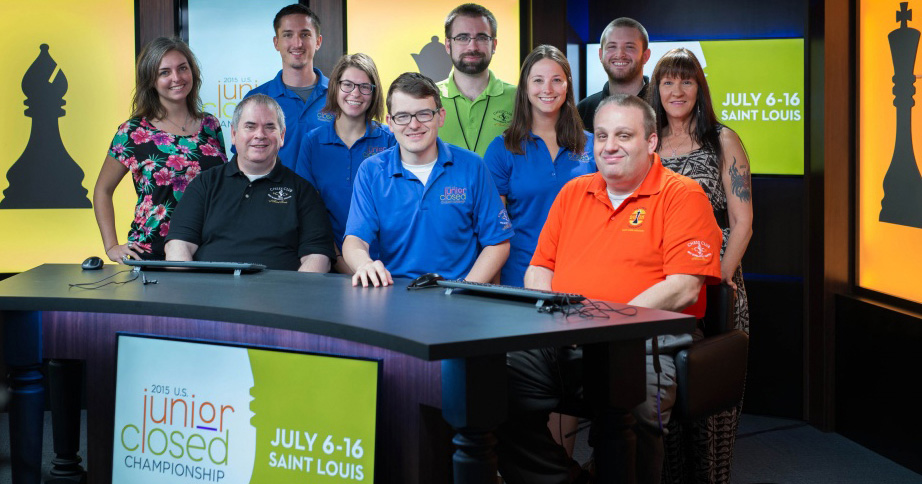 Some of the US Junior production team members Sitting (L to R): FM Aviv Friedman, Ben Simon, GM Ben Finegold Standing: Bishop, Paige Pederson, Nick Schleicher, Laura, Jonathan Schrantz, Nicole Halpin, Austin Fuller, Tammy Hyde, and The King